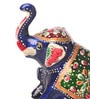 Blue Aluminium Sitting Elephant Showpiece by Suriti