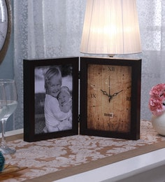 SViRU Brown Synthetic And Glass Collage Photo Frame With Clock - 1587915