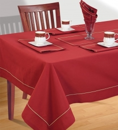 Swayam Red Cotton 4-seater Table Cover