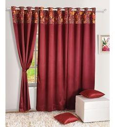 maroon faux silk 60 x 48 inch solid pnp blackout eyelet window curtain