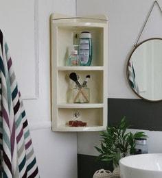 SWK Sanitaryware Neurol Ivory Plastic 13 X 7.8 X 23 Inch Bathroom Corner Cabinet