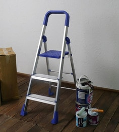 SWK Sanitaryware PPCP & Aluminium 3 Steps 4.2 FT Folding Ladder