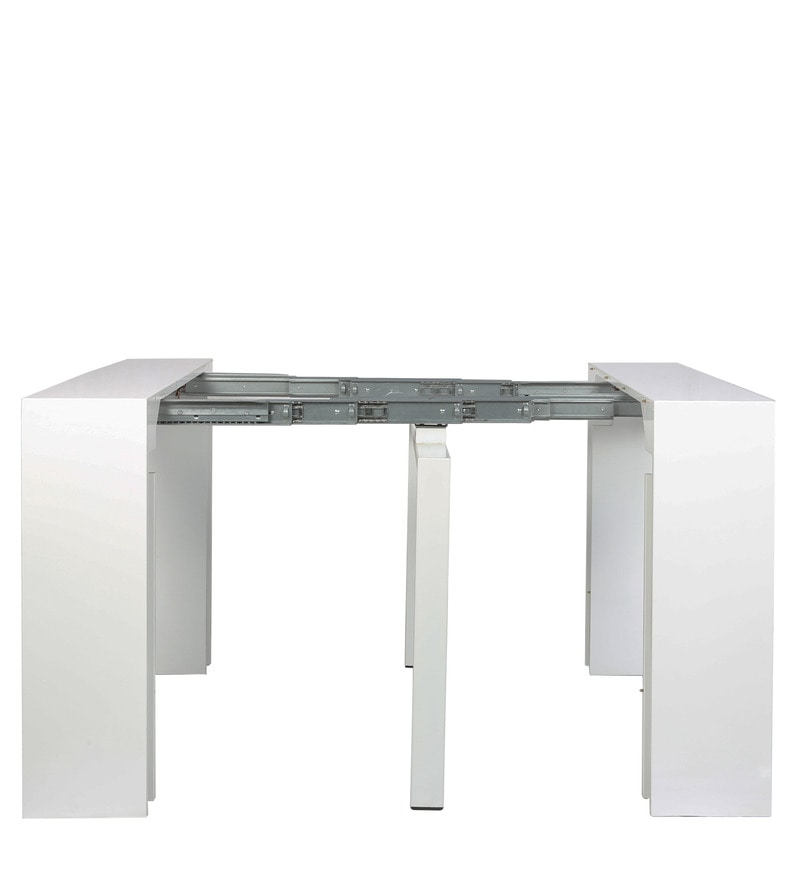 Buy swank convertible console cum dining table in white colour by gravity onl - Console convertible table ...