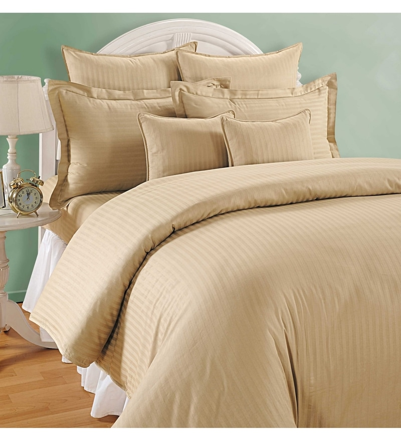 Beige Cotton Queen Size Bedding Set - Set of 4 by Swayam