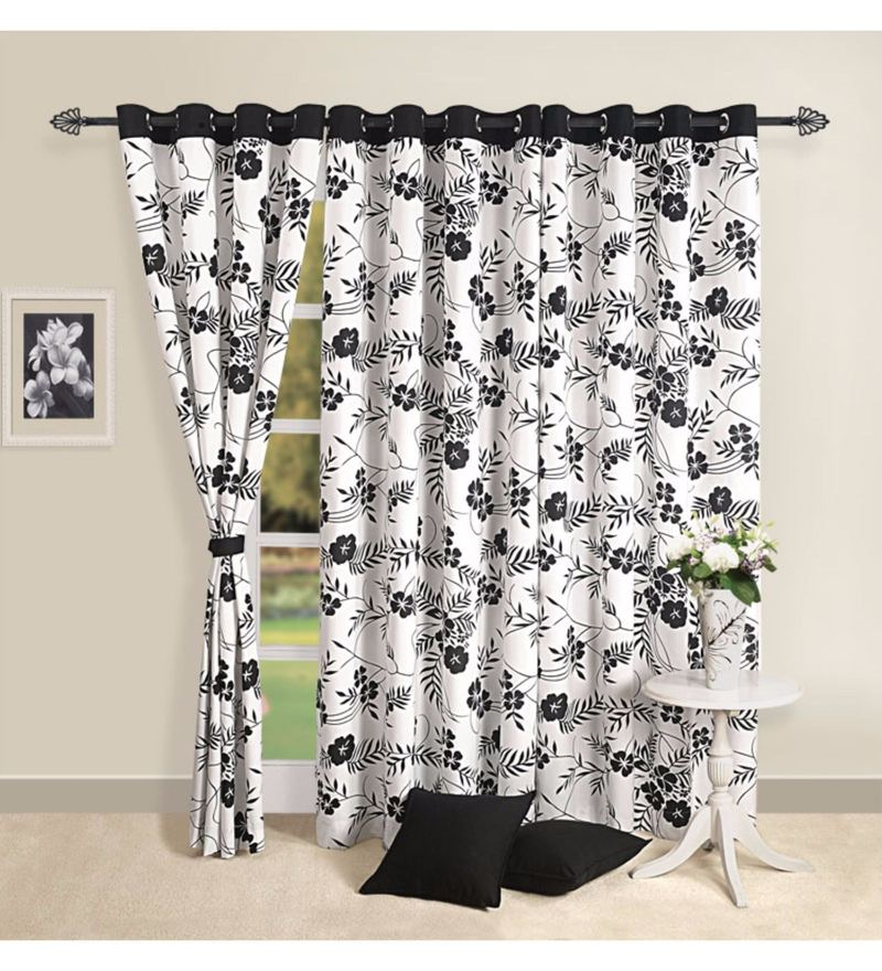 Black Cotton Floral Premium Lining Printed Eyelet Curtain by Swayam
