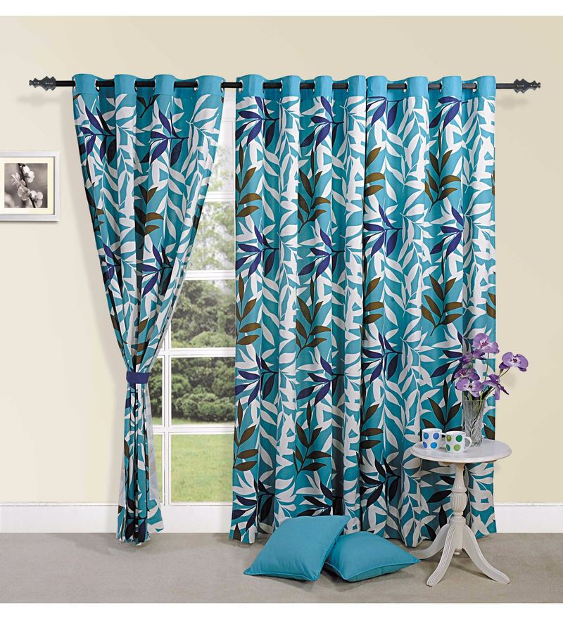 Blue Cotton Leaf Premium Lining Printed Eyelet Curtain by Swayam