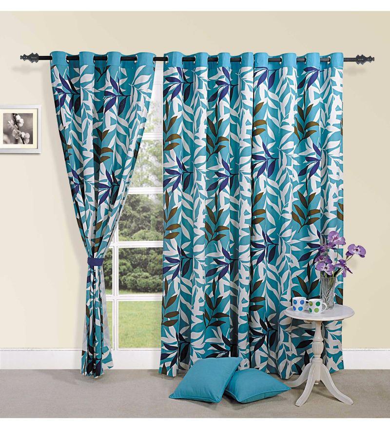 Blue Cotton Leaf Premium Lining Printed Eyelet Curtain by Swayam