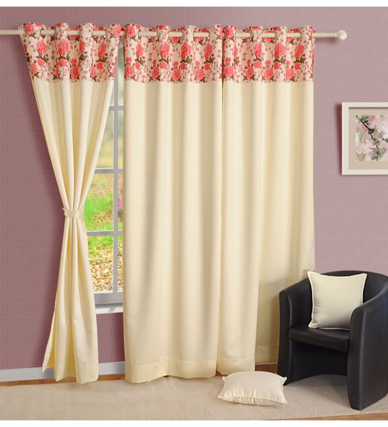 Cream Faux Silk Solid Blackout Eyelet Curtain by Swayam