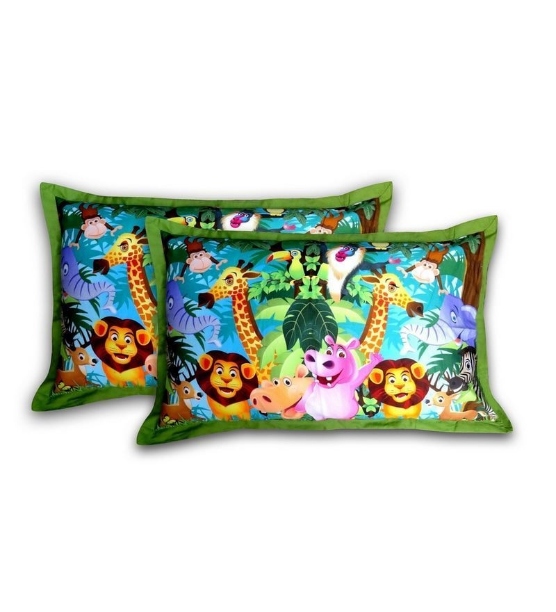 Digital Madagascar Print Cotton Pillow Cover by Swayam