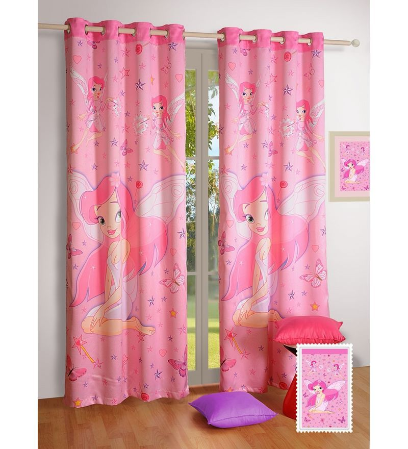 Digital Printed Princess Kids Pink Silk 60x48 INCH Eyelet Window Curtain by Swayam