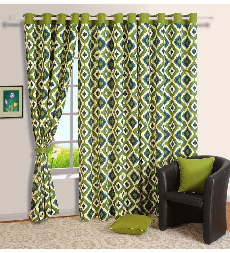 Green 100% Cotton 60 x 54 Inch Geometrical Premium Lining Printed Eyelet Window Curtain by Swayam