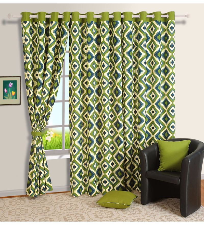 Green 100% Cotton 60 x 54 Inch Geometrical Printed Eyelet Window Curtain by Swayam