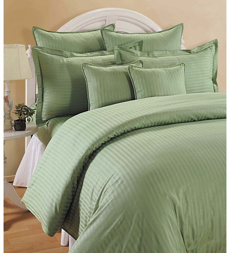 Green Cotton Queen Size Bedding Set - Set of 4 by Swayam