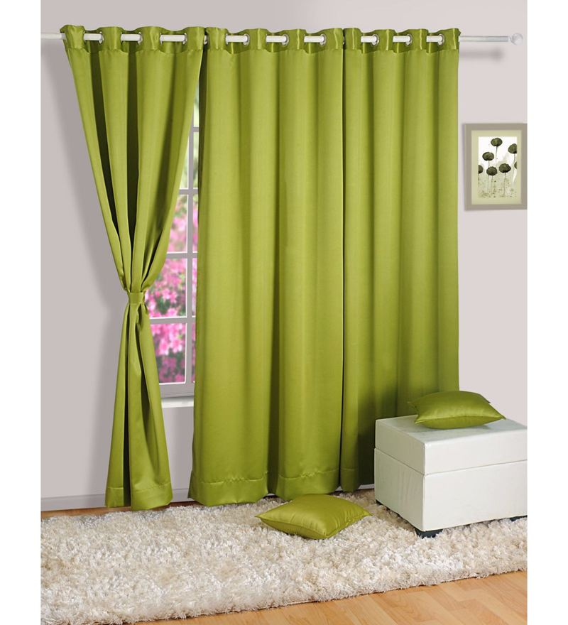 Green Faux Silk 60 x 48 Inch Solid Blackout Eyelet Window Curtain by Swayam