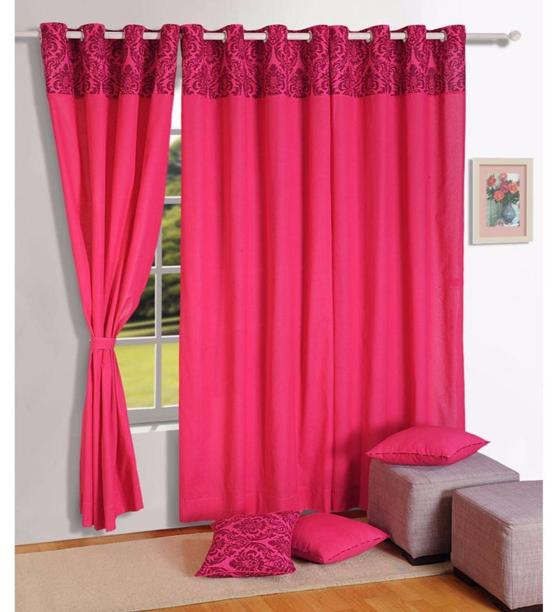 Swayam Magenta 100% Cotton 60 x 54 Inch Solid Premium Lining Plain Eyelet Window Curtain