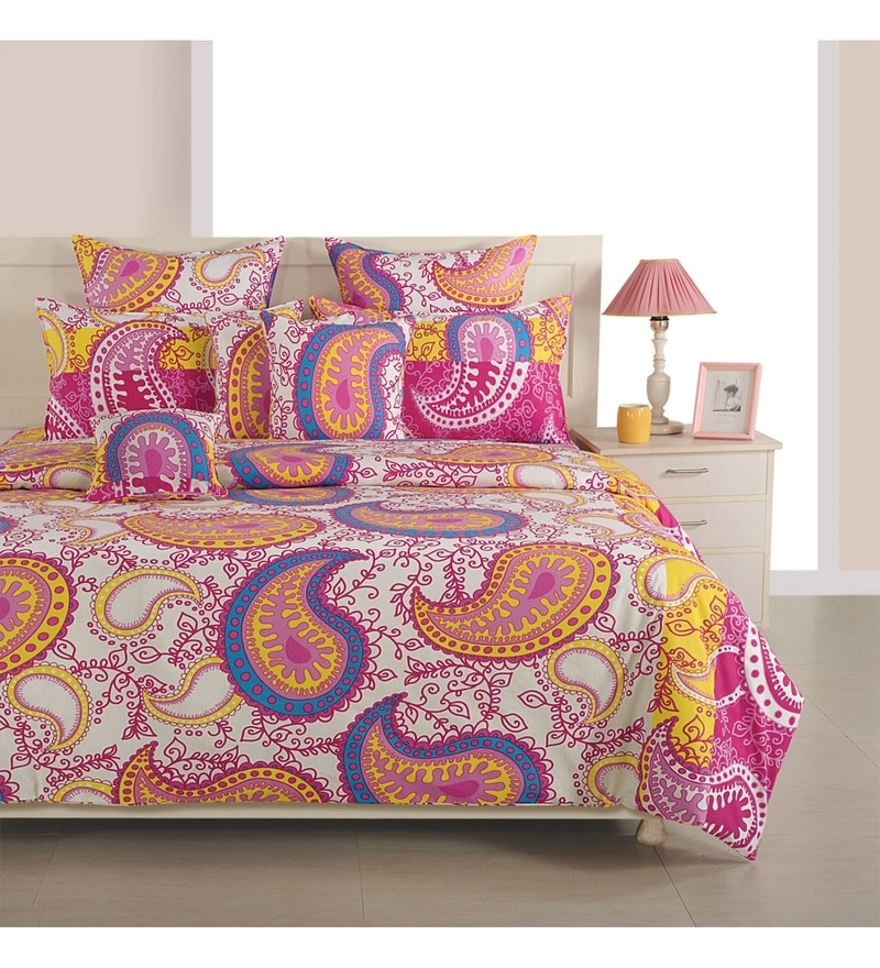 Magenta Cotton Queen Size Bed Sheet - Set of 3 by Swayam