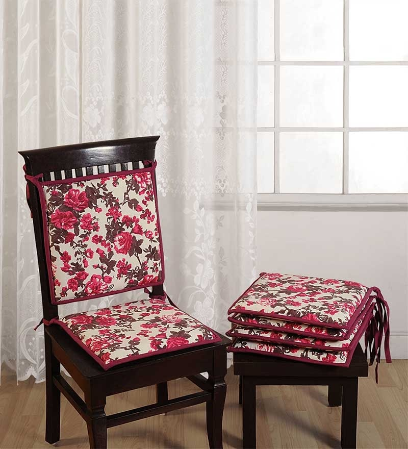 Brown Cotton 16 x 16 Inch Contemporary Chair Pad - Set of 4 by Swayam