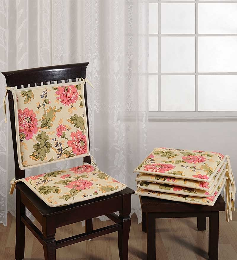 White Cotton 16 x 16 Inch Printed Chair Pad - Set of 2 by Swayam