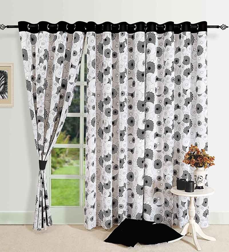 Monochrome Black Cotton 88 x 54 Inch Eyelet Door Curtain by Swayam