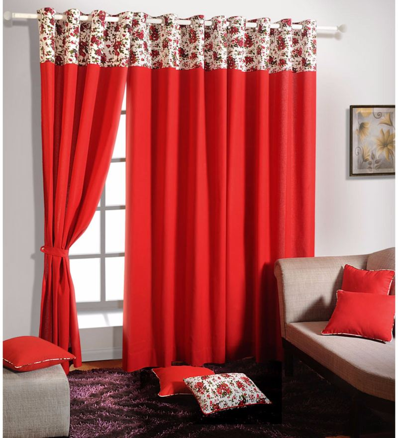 Red 100% Cotton 60 x 54 Inch Solid Plain Eyelet Window Curtain by Swayam