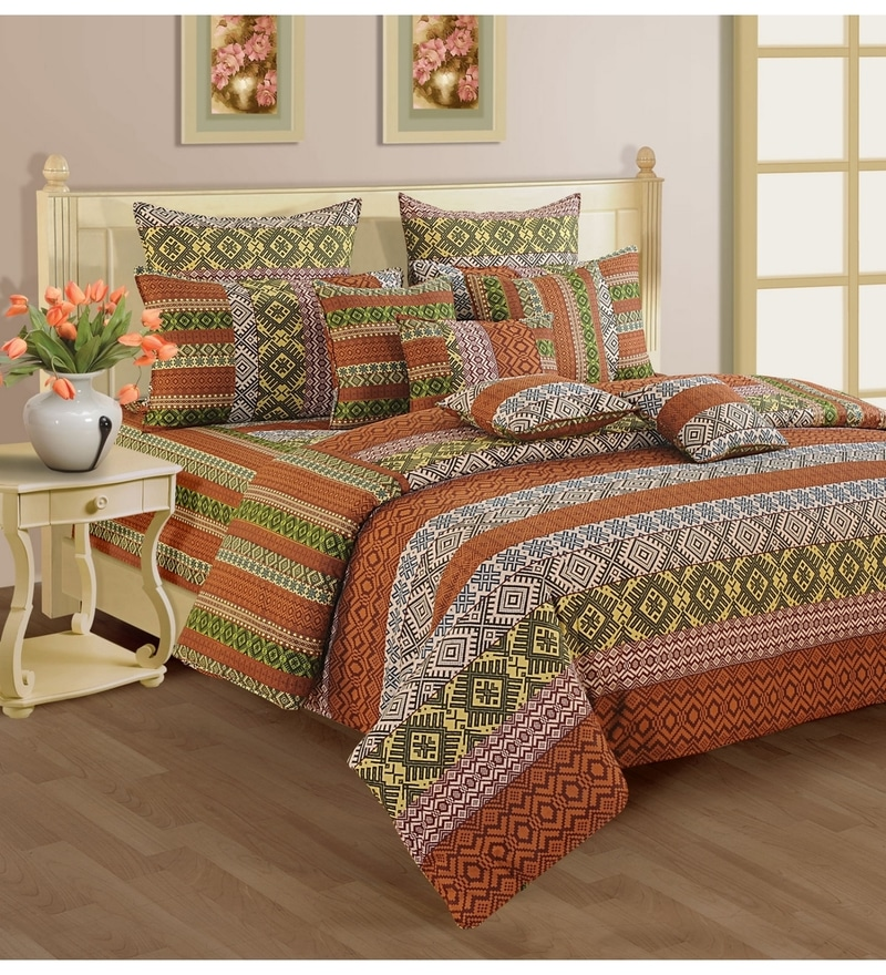 Rust Cotton Queen Size Bed sheet - Set of 3 by Swayam