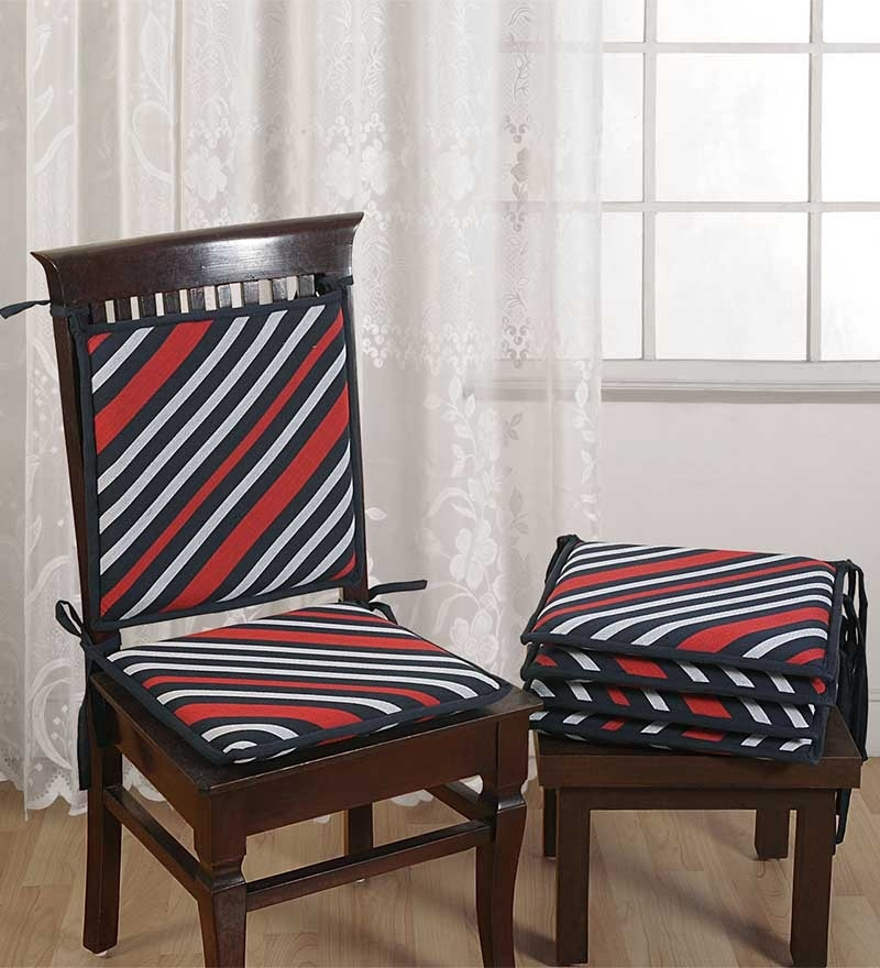 Blue Cotton 16 x 16 Inch Stripes Chair Pad - Set of 6 by Swayam