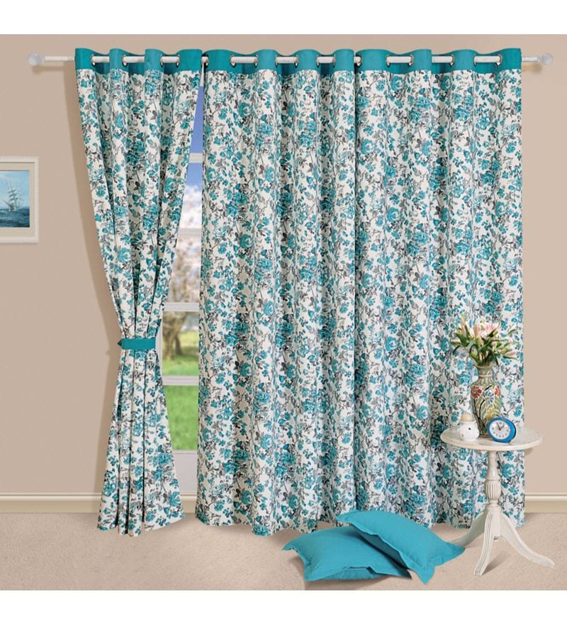 Turquoise Cotton Floral Printed Eyelet Curtain by Swayam