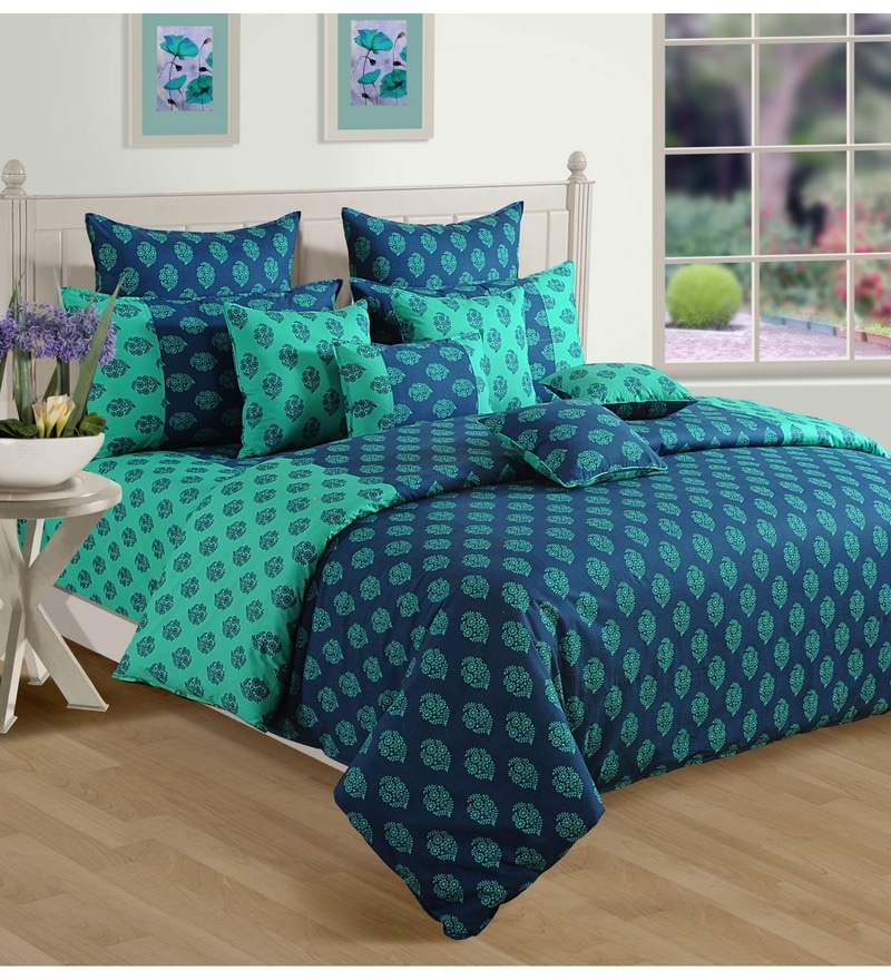 Turquoise Cotton Queen Size Bedding Set - Set of 4 by Swayam