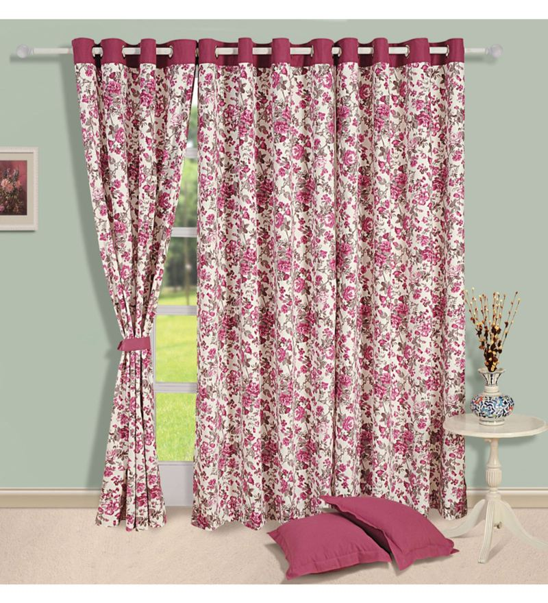 Wine 100% Cotton 60 x 54 Inch Floral Printed Eyelet Window Curtain by Swayam