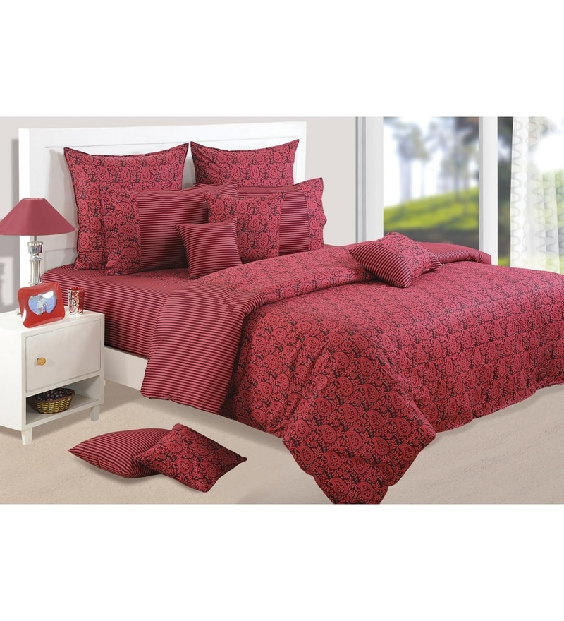 Wine Cotton Queen Size Bedding Set - Set of 4 by Swayam