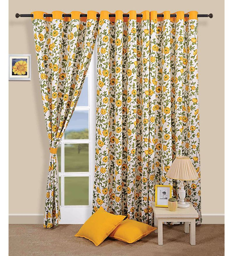 Yellow 100% Cotton 60 x 54 Inch Floral Premium Lining Printed Eyelet Window Curtain by Swayam