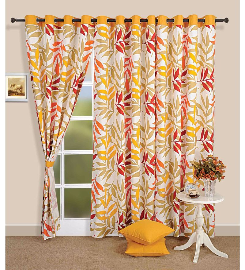 Yellow 100% Cotton 60 x 54 Inch Leaf Premium Lining Printed Eyelet Window Curtain by Swayam