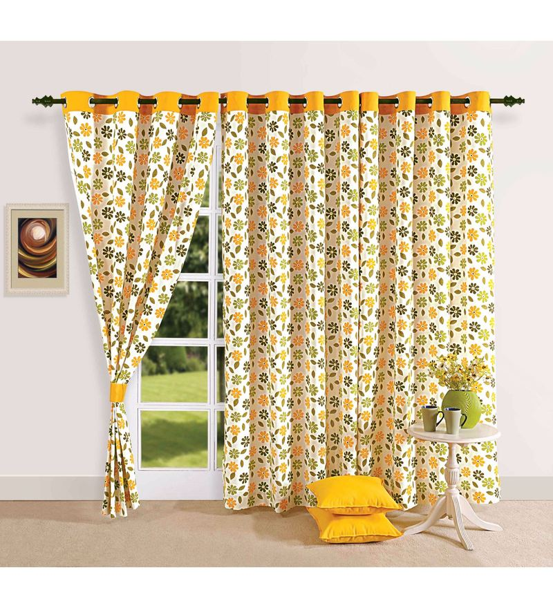 Yellow Cotton Floral Printed Eyelet Curtain by Swayam