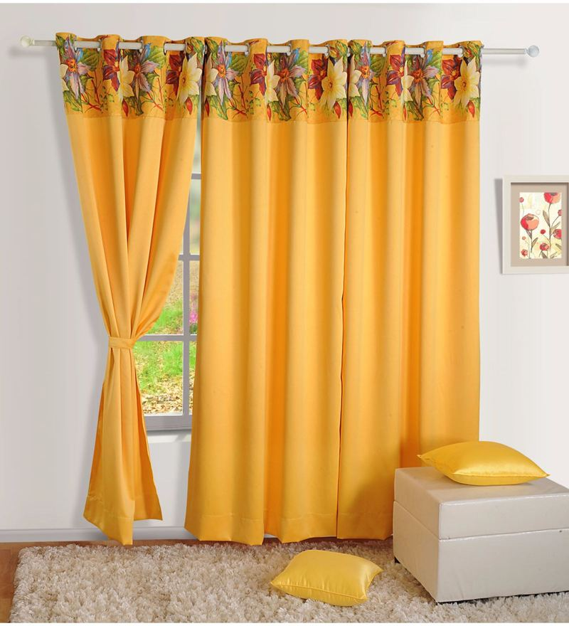 Yellow Faux Silk 60 x 48 Inch Solid PNP Blackout Eyelet Window Curtain by Swayam