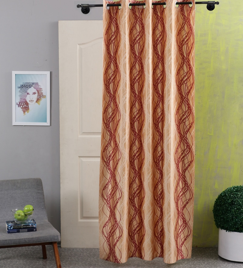 Brown & Orange Cotton 83 x 47 Inch Spiral Door Curtain - Set of 2 by SWHF