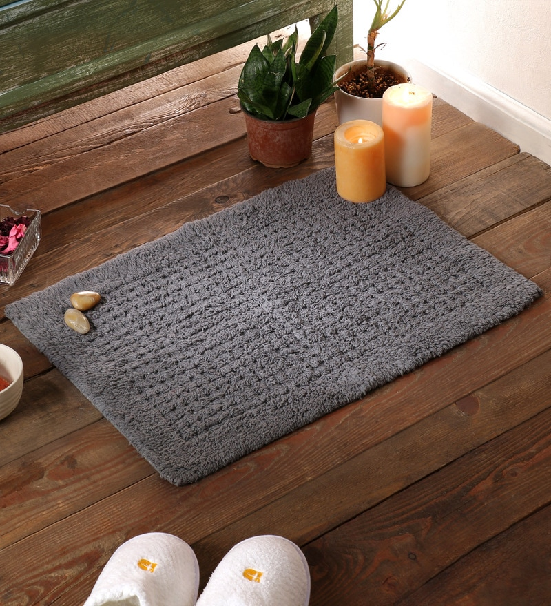 Grey Cotton 24 x 16 Bath Mat by SWHF