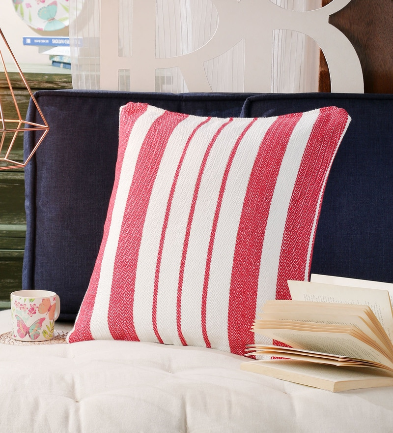 Red Cotton 20 x 20 Inch Cotton Red Stripes Cushion Covers by SWHF
