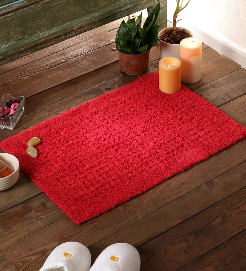 Red Cotton 24 x 16 Bath Mat by SWHF