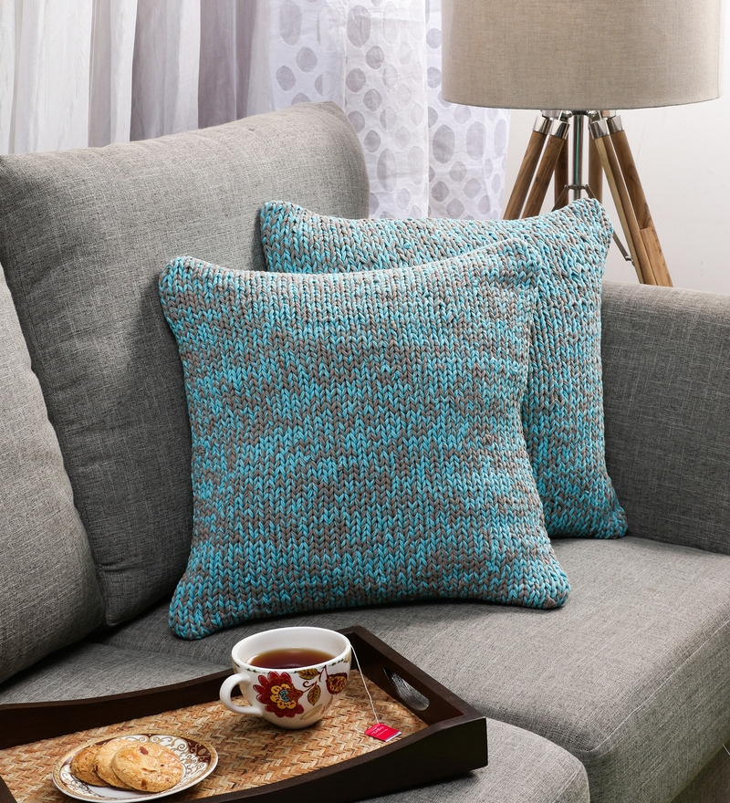 SWHF Turquoise Cotton 18 x 18 inch Hand-knitted Cushion Covers - Set of 2