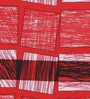 Swastika Red Cotton Queen Size Bed Sheet  -  Set of 3