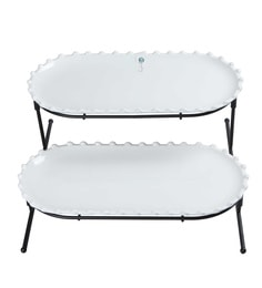 Symphony Alfresco Pearl Serving Plates With Iron Stand, White, Set Of 2