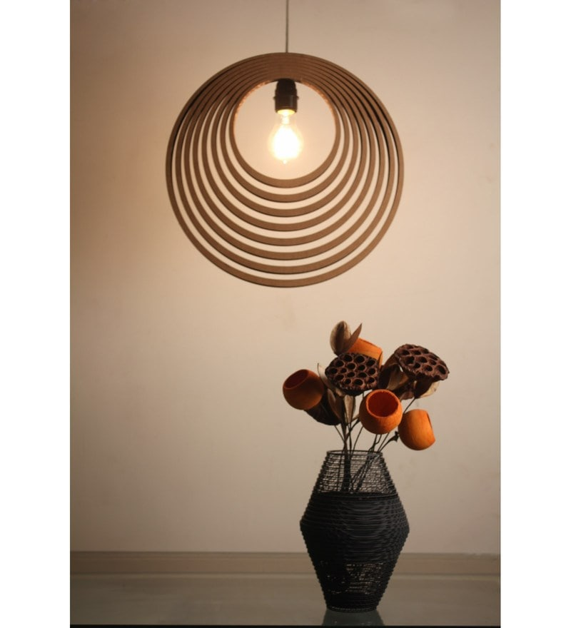 Brown corrugated cardboard concentric lamp pendent by sylvn studio