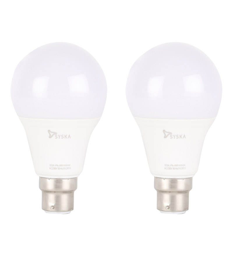 Syska White 9W LED Bulb - Set of 2