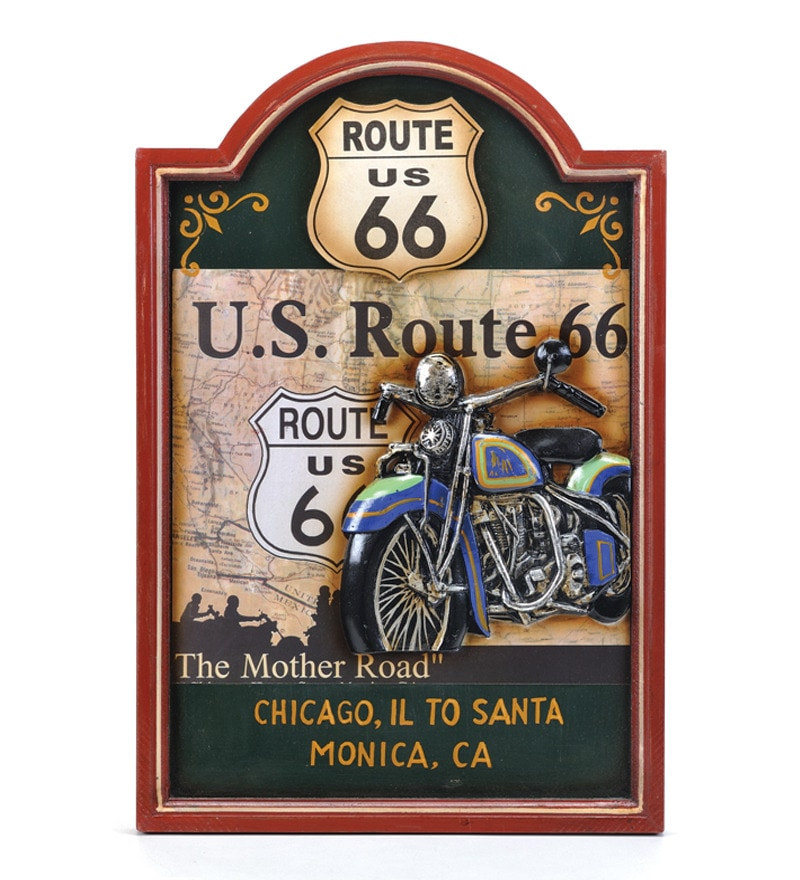 Take Me Home Us Route 66 Wall Sign Multicolour Resin  Poster