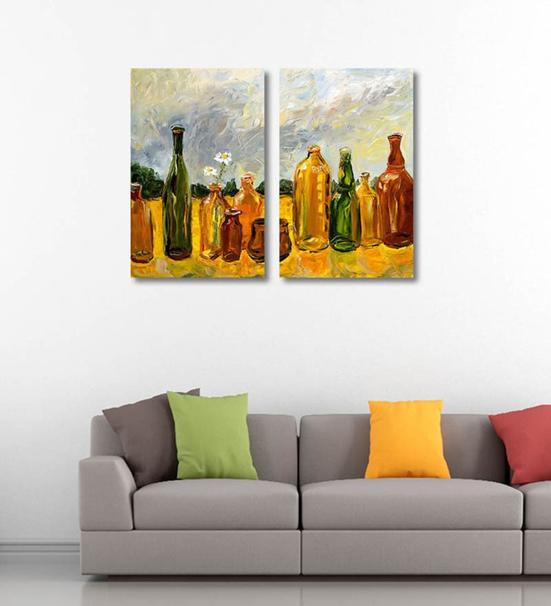 Canvas 12 x 0.5 x 18 Inch Oil Painting of Glass Bottles Premium Quality Ready to Hang Framed Art Panels - Set of 2 by Tallenge