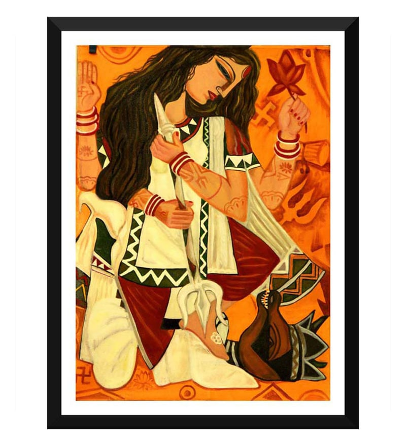 Paper 12 x 0.5 x 17 Inch Contemporary Indian Art Durga Framed Digital Poster by Tallenge