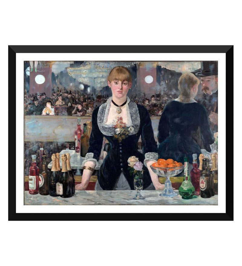 Paper 18 x 0.5 x 14 Inch A Bar At The Folies Bergere Framed Digital Poster by Tallenge