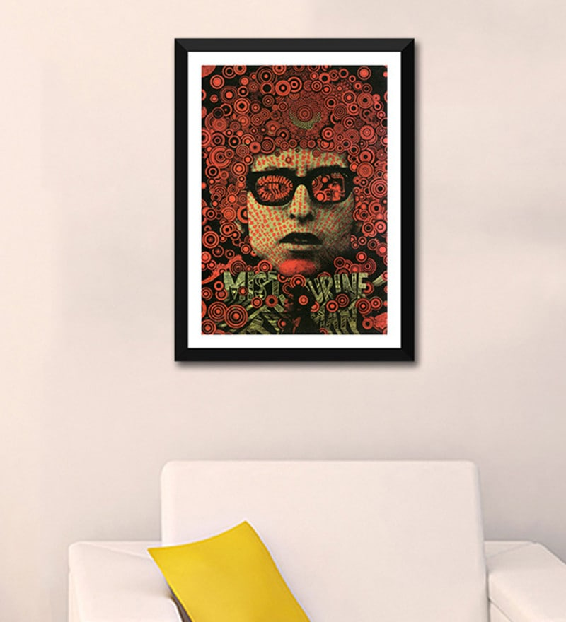 Paper 12 x 17 Inch Bob Dylan Tambourine Man Blowing In The Mind Framed Poster by Tallenge