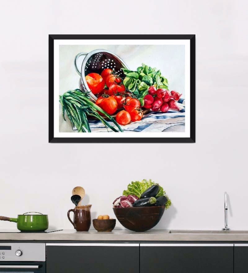 Photographic Paper 18 x 1 x 12 Inch Art For Kitchen Fresh And Healthy Diet Framed Digital Art Print by Tallenge
