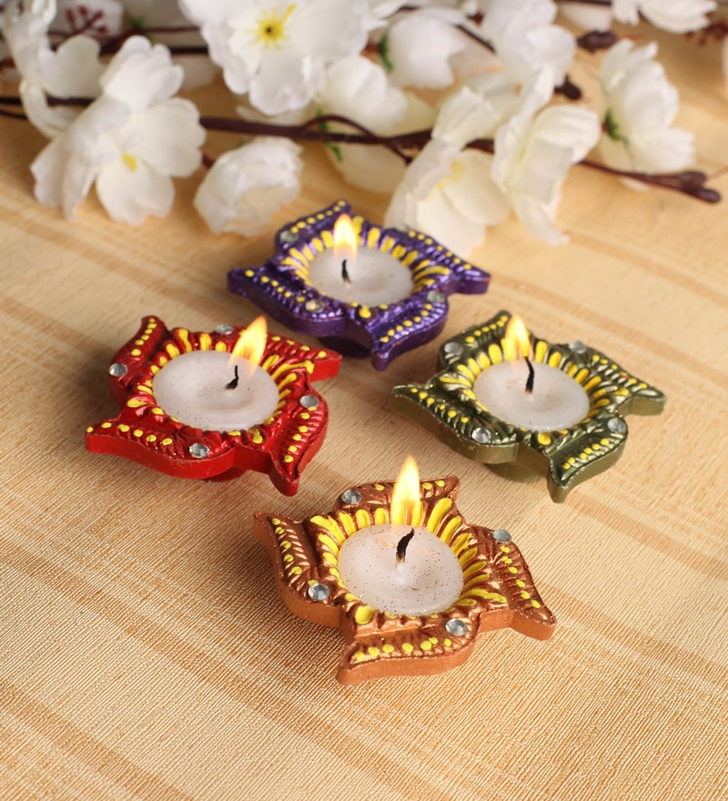 Multicolour Diya - Set of 4 by Tanariri Hastakala